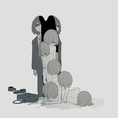 Japanese Illustrator Gives Thought-Provoking Chills With Haunting Artwork Dark Art Illustrations, Art And Illustration, Sad Anime, Anime Art, Desenhos Halloween, Sun Projects, Dark Drawings, Vent Art, Dark Thoughts