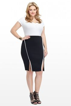 Plus Size Racer Piped Pencil Skirt | Fashion To Figure #PlusSizeFashion