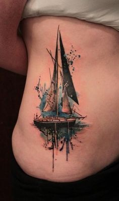 Body Art | Tattoo | 刺青 | Tatouage | Tatuaggio | татуировка | Tatuaje | Sailboat with paint splash -