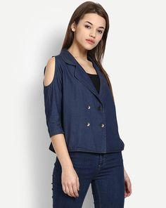 80af9cb8c8ddea Buy Blue Myung Denim Cold Shoulder Shirt Online at StalkBuyLove |  IN1702MTOSHTBLU-226