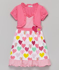 Look what I found on #zulily! Pink Heart Dress & Shrug - Toddler & Girls by G&J Relations #zulilyfinds