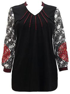NEW ULLA POPKEN BLACK RED EMBROIDERY LACE PRINT BLOUSE SHIRT TOP TUNIC 14 16