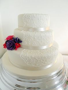 3 tier Brush Embroidery Wedding Cake plus flowers by purecakes (lizzie), via Flickr