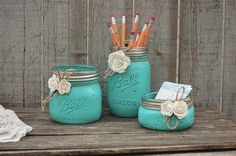 Desk Set, Mason Jar, Aqua, Shabby Chic, Pencil Holder, Dorm, Desk, Office, Decor, Set, Rustic, Teacher Gift, Beach Decor, Hand Painted by TheVintageArtistry on Etsy https://www.etsy.com/listing/248666889/desk-set-mason-jar-aqua-shabby-chic