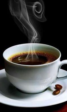 Steaming cup of black coffee. I Love Coffee, Coffee Break, Hot Coffee, Black Coffee, Cup Of Coffee, Starbucks Coffee, Coffee Corner, Coffee Gifts, Good Morning Coffee Cup