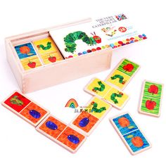 Very Hungry Caterpillar Wooden Domino Set (4 options available) for ages 18 months and up, 25rmb, my 2 year old loves this, Surprise Store