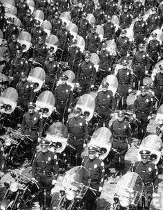 LAPD Motorcycle police, 1949. Photo by Loomis Dean.