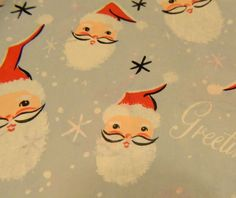 vintage wrapping paper santa claus 50s retro lot paper gift wrap christmas lot