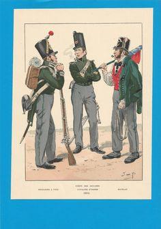 France-Planche de JOB - Corps des Douanes -1834. à pied ,cavalier ,matelot.