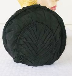 Antique Victorian Black Silk Pleated Hat by MyVintageHatShop