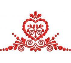 Výšivka Záhorie - srdce, červená, 24 x 13 cm