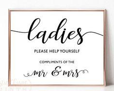 PRINTABLE - Ladies Wedding Restroom Bathroom Washroom Basket Sign - Women's Goodies Hair Makeup Hospitality Basket - DIY Download 8 x 10