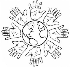 Images Of Hands And World Coloring Pages