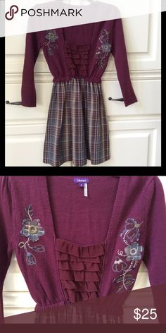 LULUMARI Sweater Dress YOU WILL LOVE THIS LULUMARI Sweater dress.  Top of this dress is a wine colored sweater with beaded embellishments.  The bottom half is a light weight cotton flannel inspired skirt. Lulumari Dresses