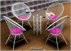 Round wire chair and glass table set by Mirel at 4Sims