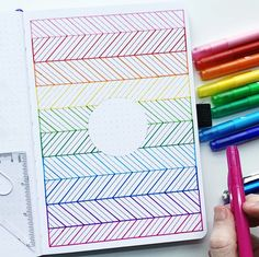 February Rainbow Pattern Cover Page Tutorial - Work bullet journal layout, Work bullet journal ideas, Work bullet journal time managment, Work bul - February Bullet Journal, Bullet Journal Cover Page, Bullet Journal Notebook, Bullet Journal School, Bullet Journal Ideas Pages, Bullet Journal Layout, Journal Covers, Bullet Journal Inspiration, Bullet Journal Graphics