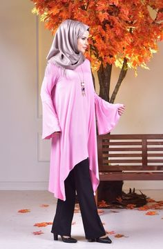 Ellegant Oversize Tunika Hijab Bluse Halskette Longshirt Damen Kleid Pulli Gr.42