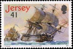 Stamp: Neptune (Jersey) (Trafalgar) Mi:JE 1209,Yt:JE 1241 Ship Paintings, Postage Stamps, Sailing Ships, Postcards, Battle, World, Sailing Boat, Jealousy, Door Bells