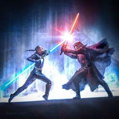 Star Wars Characters Pictures, Star Wars Images, Star Wars Concept Art, Star Wars Fan Art, Reylo, Double Lightsaber, Knights Of Ren, Rey Star Wars, Star Trek
