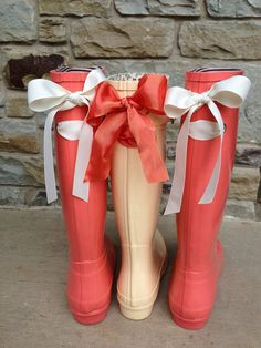 Coral Rain Boot with Cream Bow by PuddlesNRainBows,