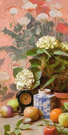 """❀ Blooming Brushwork ❀ - garden and still life flower paintings - """"Antique Chinese Jar"""" by Daniel J. Keys"""