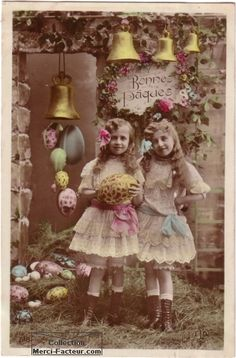 Vintage tinted photo postcard for Easter