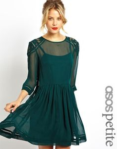 Buy ASOS Skater Dress With Lace Insert Shoulder Detail at ASOS. With free delivery and return options (Ts&Cs apply), online shopping has never been so easy. Get the latest trends with ASOS now. Sheer Dress, Dress Skirt, Lace Dress, Petite Long Sleeve Dress, Emerald Dresses, Shower Dresses, Costume, Asos Dress, Short Dresses