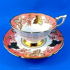 Gold-Leaf-Berry-amp-Peach-Royal-Stafford-Cup-and-Saucer