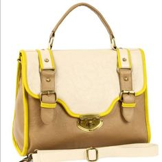 "Chelsea Colorblock Satchel in Tan and Neon Vibrant neon yellow trim adds some spice to the colorblocked colors on this faux leather bag. Brushed gold hardware adorns the faux buckle closures and turn-lock closure on the front flap. You can carry this bag by the shorter top-handle or attach the adjustable shoulder strap and there's also a pocket on the back. plenty of space. 13.5"" L x 5.5"" W x 10.5"" H 4"" drop top-handle 22"" drop shoulder strap. I traded to get this on lbb years ago and it's…"