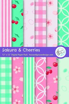 Create a digital Spring design with these Japanese themed scrapbook papers with Sakura cherry blossoms and cherries for your greeting cards, scrapbooks, web designs and more! By House of Grouse Design, the cutest digital scrapbooking warehouse. Pattern Designs, Retro Pattern, Cute Pattern, Surface Pattern Design, Sakura Cherry Blossom, Cherry Blossoms, Patterns In Nature, Beautiful Patterns, Origami Patterns