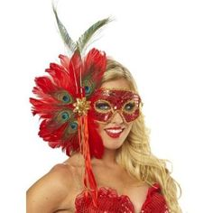 Stunning Spanish Peacock Feather Mask for Mardi Gras.