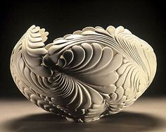 """""""Jungle Vessel""""  ~  12"""" x 12"""" x 12""""  ~  Jen McCurdy, a true master of her craft, uses wheel thrown porcelain to form unique sculptures of great beauty."""