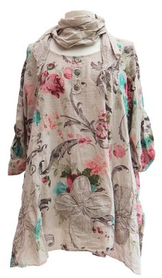 Ladies Womens Italian Lagenlook Quirky Floral Print Tunic Top Scarf Set Shirt Cotton One Size Plus Blouse (One Size (Plus), Beige)