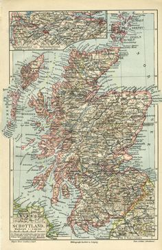 Your place to buy and sell all things handmade Vintage Maps, Antique Maps, First Wedding Anniversary Gift, Scotland Map, Honeymoon Destinations, Old Antiques, How To Memorize Things, Handmade, Old Maps