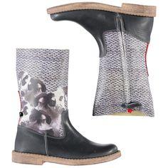 Groen/grijze leren hoge laarzen met een 'knitted/doggy' fotoprint van WILD wintercollectie 2014/2015