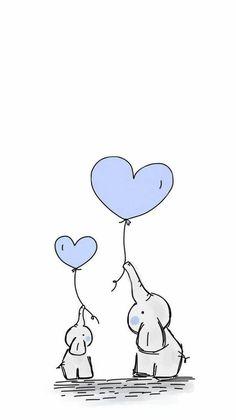 Drawing Tips Animals Iphone Wallpaper Kawaii, Disney Phone Wallpaper, Aesthetic Iphone Wallpaper, Baby Animal Drawings, Mini Drawings, Elephant Wallpaper, Animal Wallpaper, Meaningful Drawings, Baby Deco