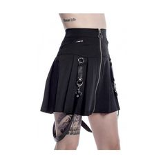 Blaire B*tch mini skirt by Killstar (€43) ❤ liked on Polyvore featuring skirts, mini skirts, goth skirt, zipper skirt, pleated mini skirt, short mini skirts and short pleated skirt