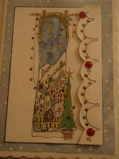 Christmas card using stamp by Michael Powell coloured with Promarkers