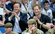 Prime Minister David Cameron and Prince Harry watch the wheelchair basketball at the Queen Elizabeth park in London during the Invictus Games