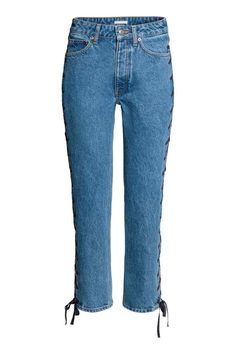 Straight Lace-up Ankle Jeans - Denimblauw - DAMES | H&M NL