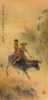 Lee Man Fong - Children on Water Buffalo