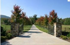 Tree Lined Driveway with gate Driveway Entrance Landscaping, Country Landscaping, Acreage Landscaping, Front Gates, Entrance Gates, Iron Gates Driveway, Stone Driveway, Gravel Driveway, Farm Entrance