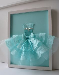Turquoise Princess Dress. Framed wall art for girls by FlorasShop