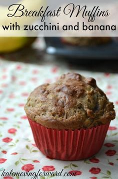 Breakfast Muffins with zucchini and banana-- a great healthy breakfast idea or snack idea for little ones.