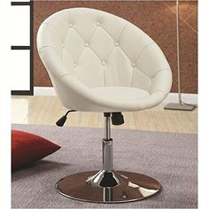 Coaster Round Back Swivel Chair White Vinyl Living Room Furniture Chrome Finish #CoasterHomeFurnishings