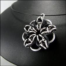Celtic Star Chainmaille Pendant Black and Silver by Janabolic - Stylehive Wire Jewelry, Pendant Jewelry, Jewelry Crafts, Handmade Jewelry, Opal Jewelry, Bridal Jewelry, Jewellery, Chainmail Patterns, Beaded Jewelry Patterns