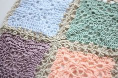 """Lacy Blanket Join, free pattern by Sandra Paul of Cherry Heart; she describes this as a """"tricky"""" method.  . . .  ღTrish W ~ http://www.pinterest.com/trishw/  . . . #crochet #joining"""