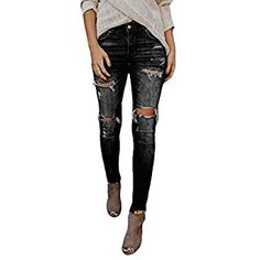 71ca89dade186 Women's Juniors Mid-Rise Distressed Slim Fit Stretchy Skinny Jeans Jegging  Womens Juniors Ripped Jeans