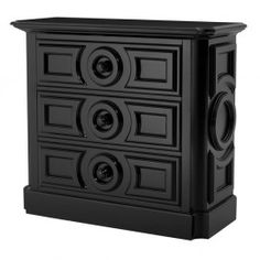 BLACK DECO CHEST OF DRAWERS This beautiful chest is finished in stunning black gloss and features stunning carved mouldings. This chest features 3 good sized drawers, and would make a superb centrepiece to your room, giving a classic and sophisticated feel.