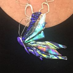 Butterfly Pendant Sterling Silver Wire Wrap Dichroic Glass by Faerieglasscreations on Etsy